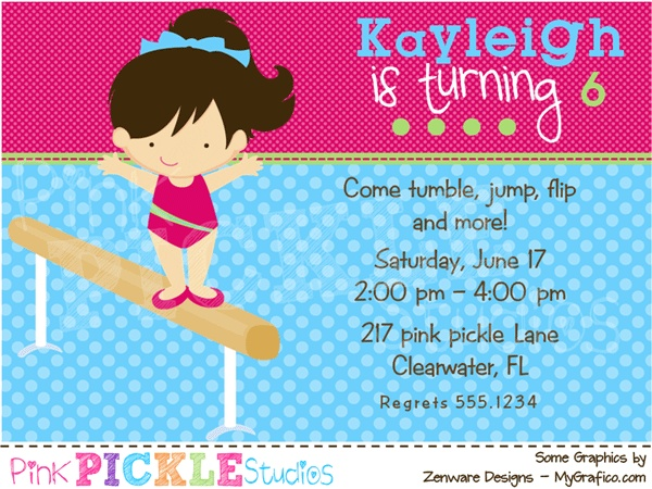 Gymnastics 2 Personalized Party Invitation-personalized invitation, photo card, photo invitation, digital, party invitation, birthday, shower, announcement, printable, print, diy,Gymnastics 2 Personalized Party Invitation, tumble, balance beam, flip