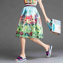 Case Donna pittura di paesaggio Gonne moda estate 2015 di stile europeo a vita alta Plus Size pieghettato dell'abito di sfera del busto Midi Gonna (Cina (continente))