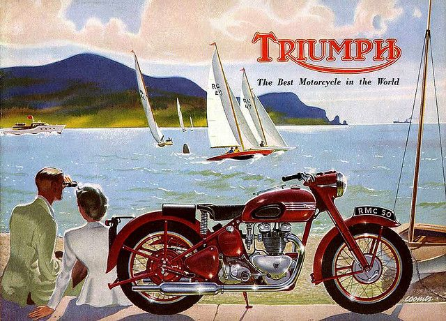 Triumph motorcycle ad vintage at the ocean