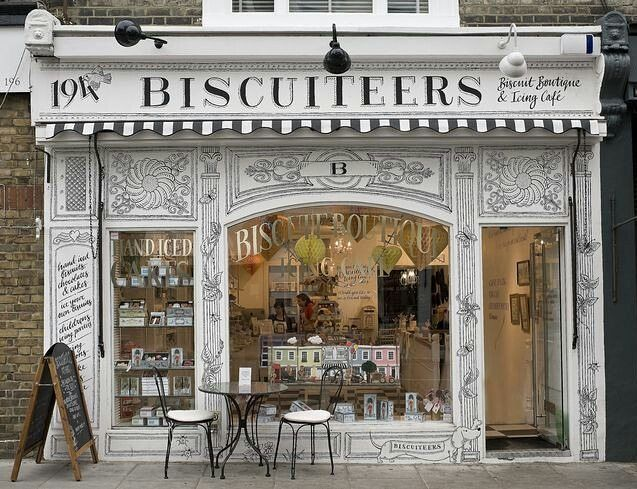 "THE BISCUITEERS, Notting Hill, London, UK, ""If you feel there is something missing in your life... It is almost always a biscuit"", photo by Vitrin Dergi, pinned by Ton van der Veer"