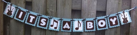 ITS A BOY Rock and Roll Theme Banner, Baby Shower Decorations, Baby Blue, Brown, White, Rock and Roll Party Decorations, Music, Birthday, on Etsy, $14.51