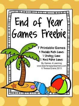 FREEBIE - End of Year Games** Freebie by Games 4 Learning is a collection of 7 printable games for End of Year celebrations!