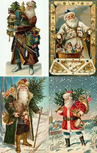 Santa in different colour outfits from whychristmas.com