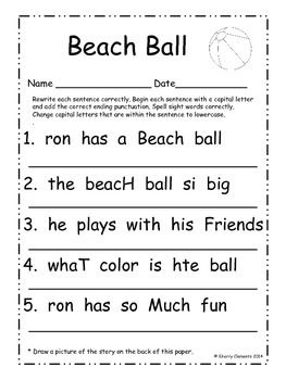 Worksheet Capital Letter English Words 11 best first grade grammar images on pinterest the sentence fix it up sentences june students write each correctly by capitalizing the