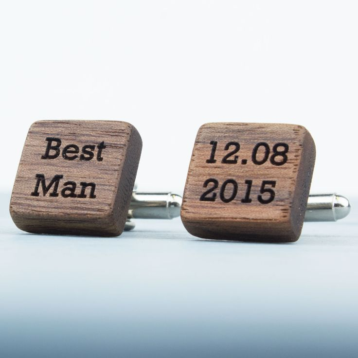 Personalised wooden square groomsmen cufflinks