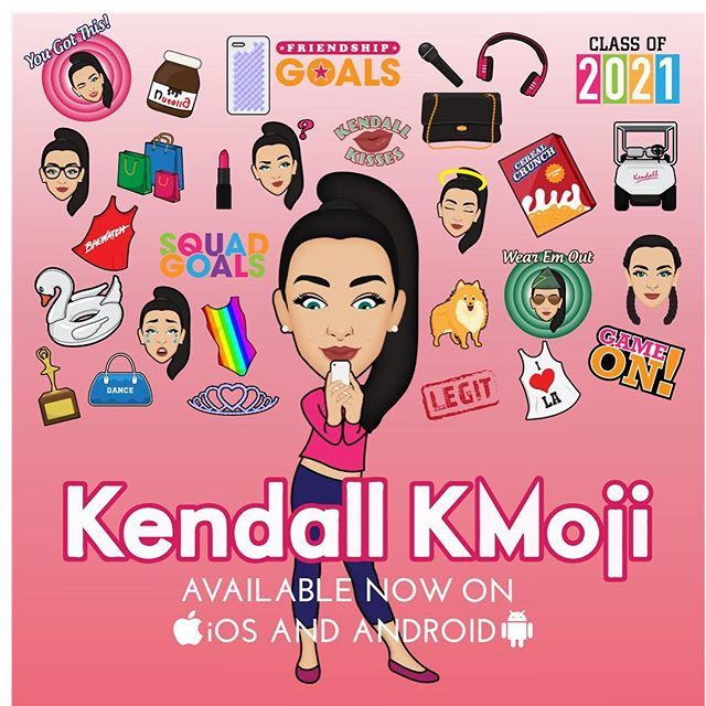 "So excited to announce that my emoji app ""Kendall KMoji"" is live in all app stores! I have been working so hard on this. Go download now! Link for iOS in my bio also available in the android store! Hope you love it as much as I do! #KendallKMoji"