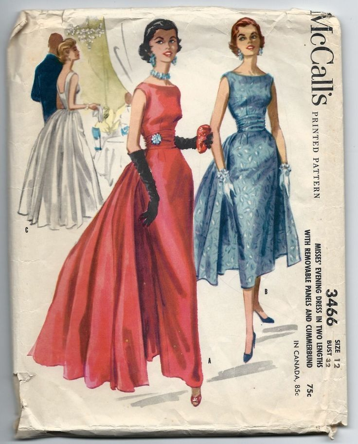 1950s Vintage Sewing Pattern McCalls 3466 Paneled Evening Gown Cocktail Dress | eBay