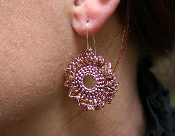 hoop earrings dangle earrings statement earrings by koralikowyraj