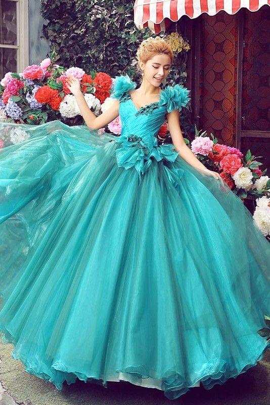 グリーン Vネック フロアー丈 レースアップ チュール カラードレス 二次会ドレス  手作りの花付き Cfz0014