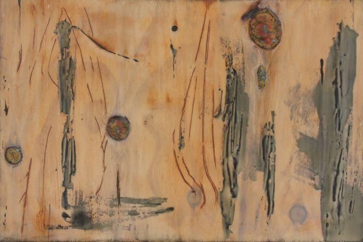 'Garden Room 1' 40x26cm  encaustic art by Mirella Vassallo