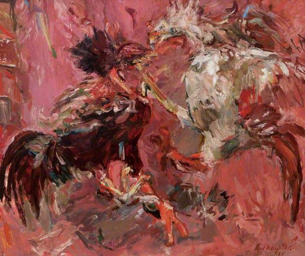 Fighting Cocks, 1951 by Sir Robin Philipson (1916-1992)