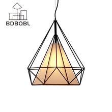 BDBQBL Modern Black Birdcage Pendant Lights Iron Minimalist Retro Light Scandinavian Loft Pyramid Lamp Metal Cage with LED Bulb(China)
