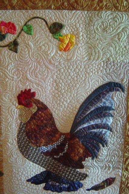 very detailedQuilt Ideas, Quilt Design, Backgrounds Quilt, Quilt Studios, Beautiful Quilt, Beautiful Roosters & Chicken, Roosters Quilt, Chicken Quilt, Jessica Quilt