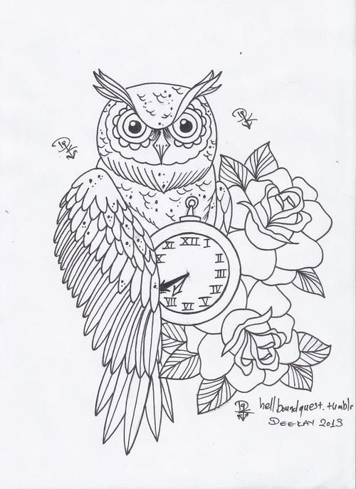 Owl Tattoo Design Tumblr Owl Coloring Pages Owl