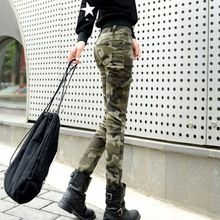 25-34 Plus Size Women Skinny Camouflage Pants Spring SummerTrousers Camo Military Cargo Pants Pantalons Pour Femme(China (Mainland))