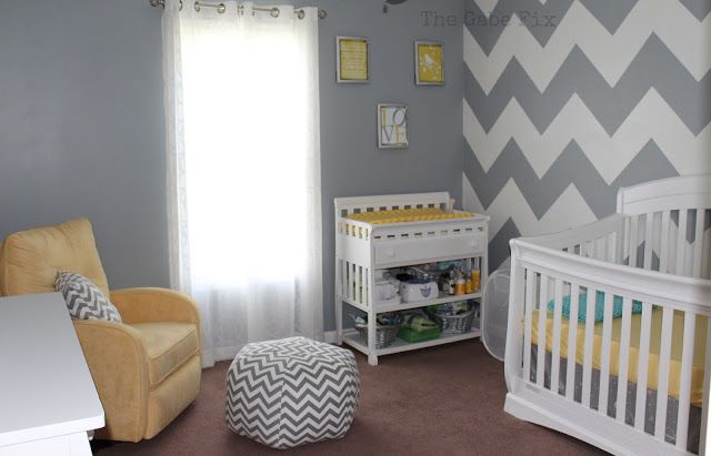 Yellow and Gray Baby Room | Grey Paint: Sherwin Williams Network Gray
