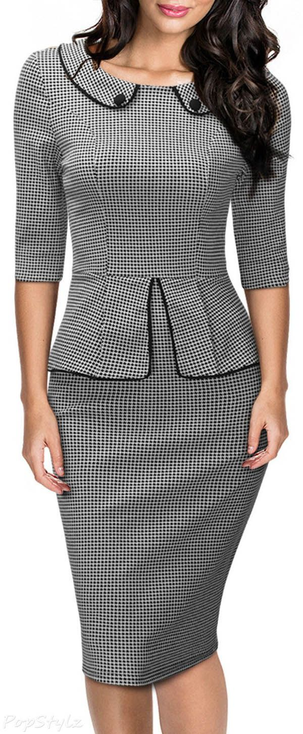 MIUSOL Retro Neck Houndstooth-Print Peplum Pencil Dress