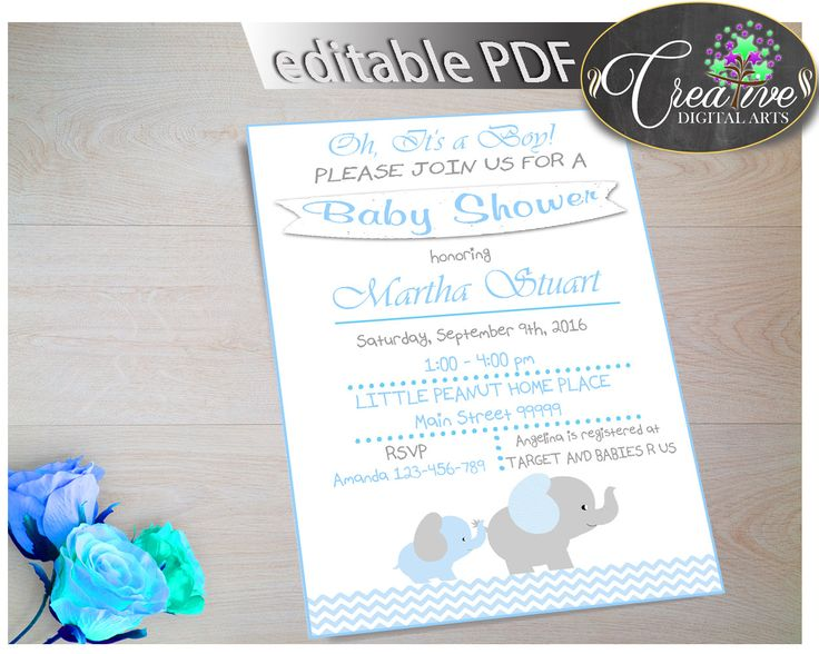 Printable Baby Shower DIY Editable INVITATION For Baby Boy Shower With Blue  And Gray Elephant Chevron Theme. This Editable DIY PDF Invitation Is A Must  Have ...