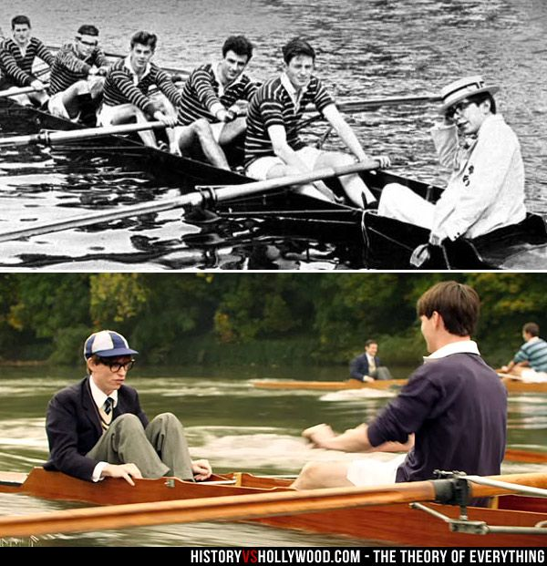 Stephen Hawking as a coxswain on the Oxford rowing team in the early 1960s (top). Actor Eddie Redmayne recreates the scene in The Theory of Everything movie (bottom). See more pics at http://www.historyvshollywood.com/reelfaces/theory-of-everything/