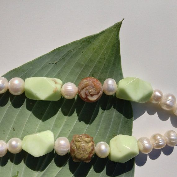 Semi-Precious Stone Necklace  Chrysoprase by BluePearEmporium