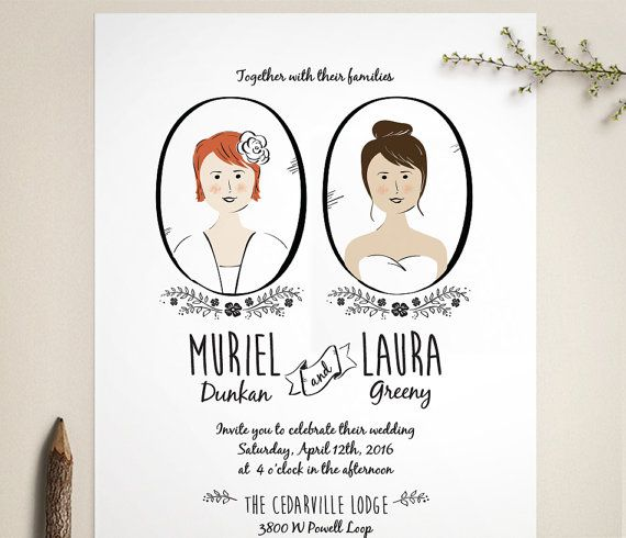 Adorable same sex wedding invitations featuring whimsical, styled portraits of the two brides. Modern folk style. Original illustration and design: