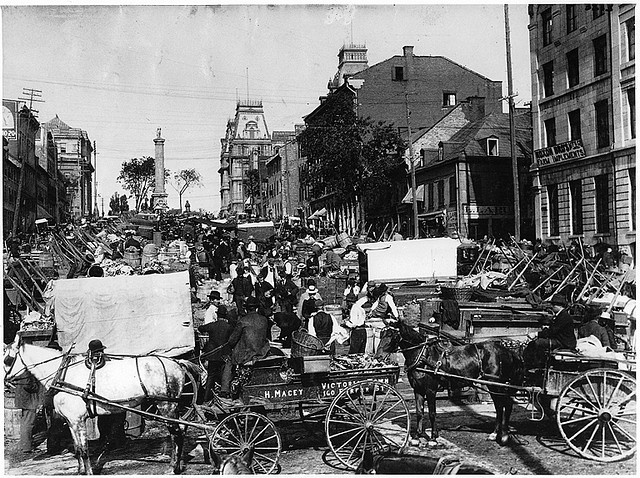 Market day, Jacques Cartier Square, Montreal, QC, about 1900. Canada