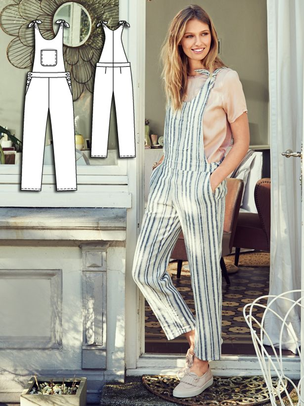 Overalls are the must-have item of the season. This playful version is sewn in a summery linen rather than a thick denim, and the straps get tied rather than having a buckle. #burdastyle #sewing #pattern #sew #diy #fashion #style