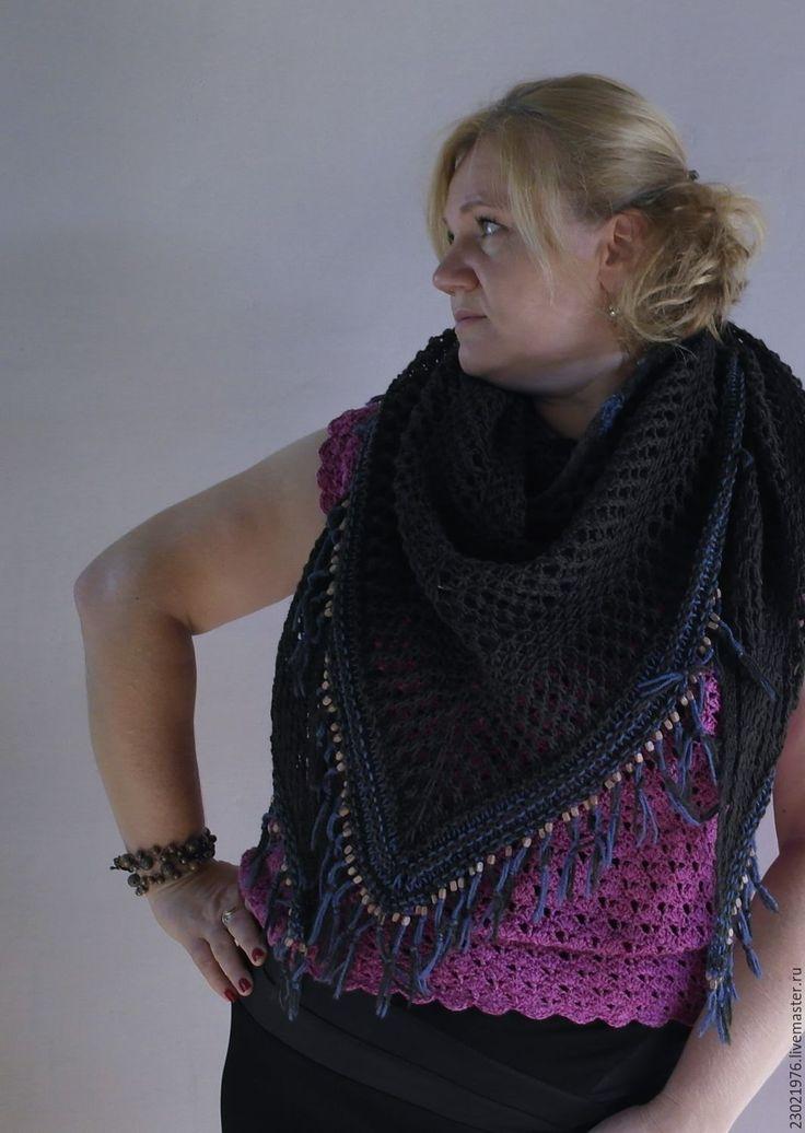 Купить шаль Палестро - темно-серый, шаль купить, бохо платок, теплый акссесуар
