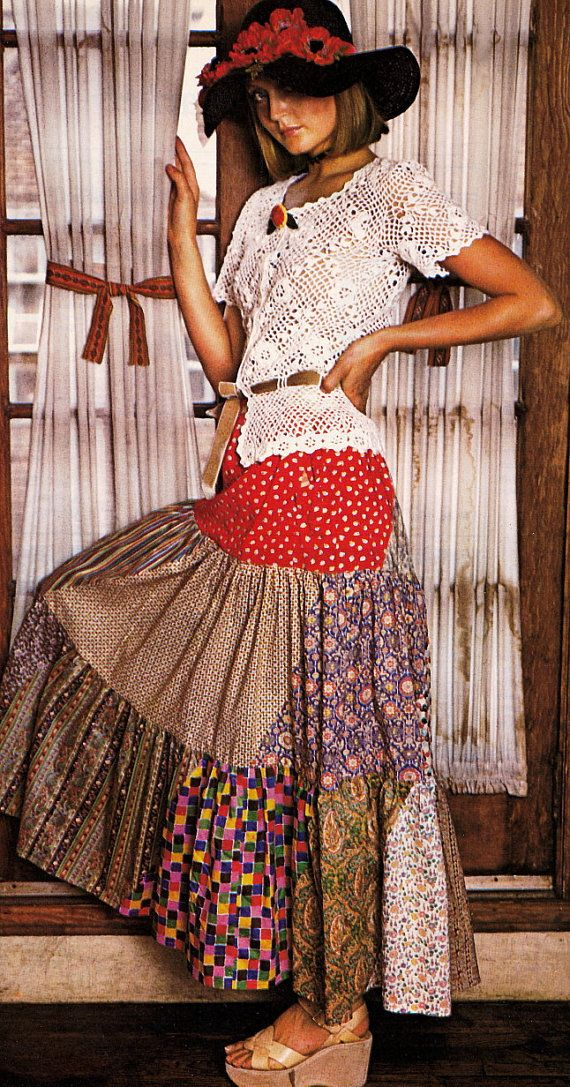 A fabulous Maxi skirt to sew from the 1970s .. A Bohemian assemblage of assorted cotton prints .. The slightly gathered tiers are stitched
