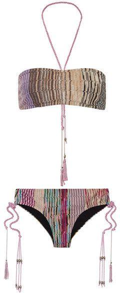 Missoni - Mare Metallic Crochet-knit Bandeau Bikini - Neutral