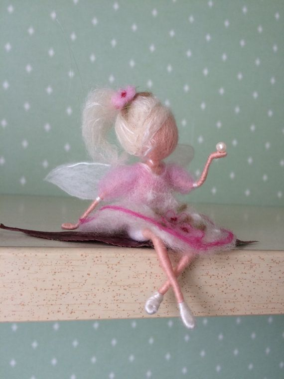 Needle felted Magic Fairy with pearl by BottegaSogni on Etsy