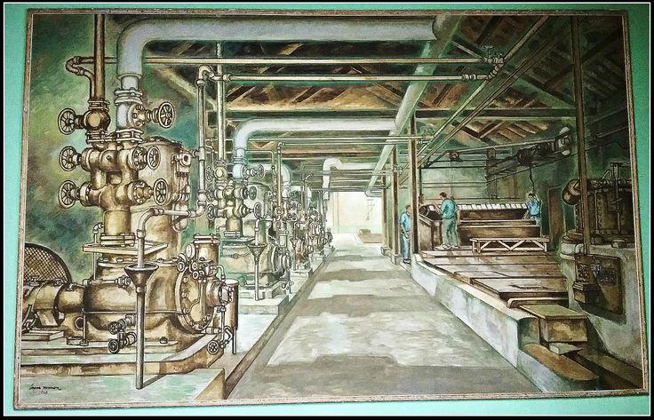 Mural de López Ramón (1960) a la sala de juntes de La Siberia. La fàbrica tenia sis basses d'aigua que s'abastien de pous propis.