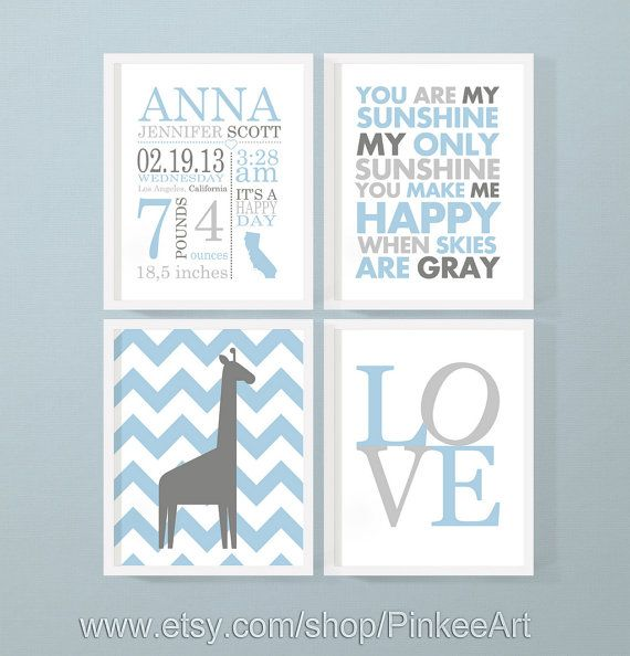 personalized baby stats blue, baby boy birth stats, baby birth art, baby shower gift, birth statistics announcement wall decor set of 4 by PinkeeArt, $29.00