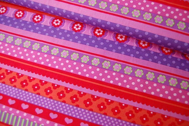Stoff Streifen - Stenzo Stoff bunte Stripes pink/rot 562 A - ein Designerstück von Wunschstoffe bei DaWanda