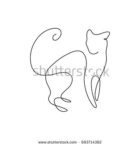 One Line Design Silhouette Wild Cathand Stock Vector (Royalty Free) 693714382