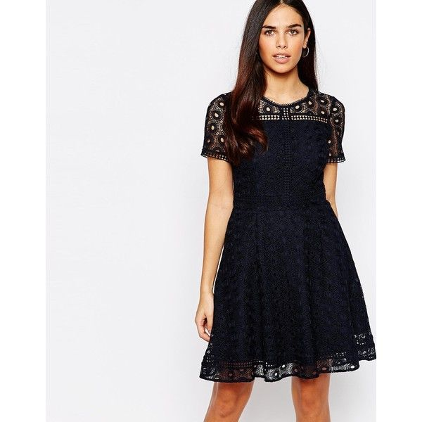 Warehouse Lace Skater Dress ($93) ❤ liked on Polyvore featuring dresses, navy, round neck dress, zipper dress, lacy white dress, white zipper dress and warehouse dresses