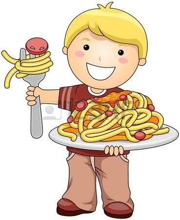 Boy with Spaghetti  Stock Photo