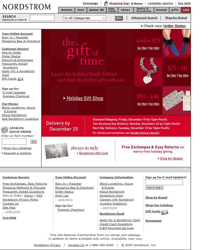 Nordstorm Store website in 2003