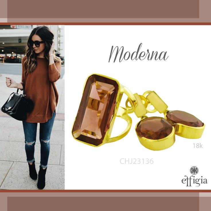 Complementa tus atuendos con este precioso juego de oro amarillo de 18K con Obsidiana rosa. ¡Brilla con Effigia! #Joyas #Oro #Moderno