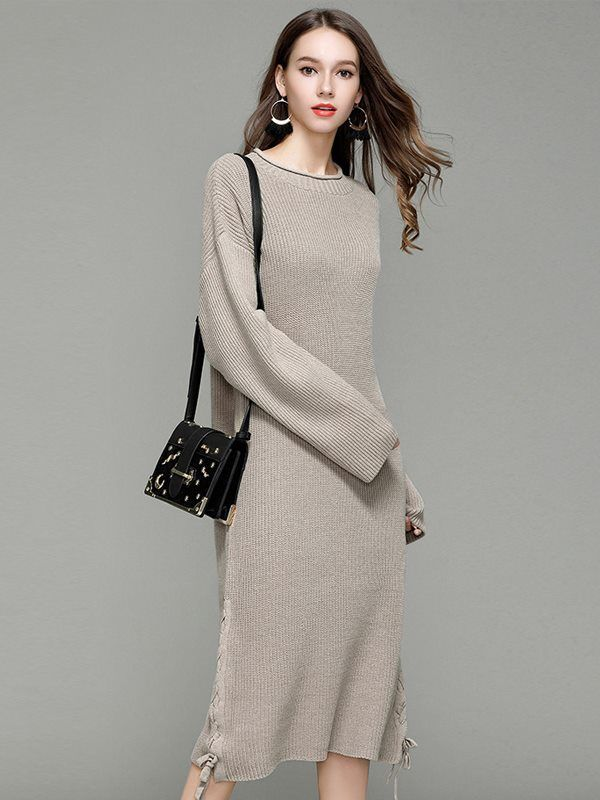 de9ad123f76 Vinfemass Solid Color Lace Up Loose Sweater Dress in 2019 ...