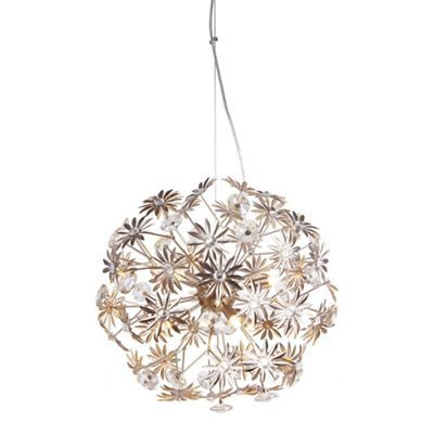 Home collection chloe metal and crystal glass champagne pendant light debenhams