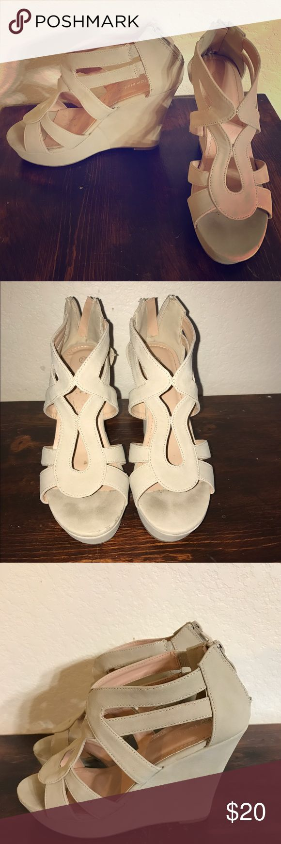 Top Moda Beige Strappy Platform Wedges Strappy Platform Wedges. Size is 7.5 but run small, will fit a 6.5 - 7 shoe size. Top Moda Shoes Wedges