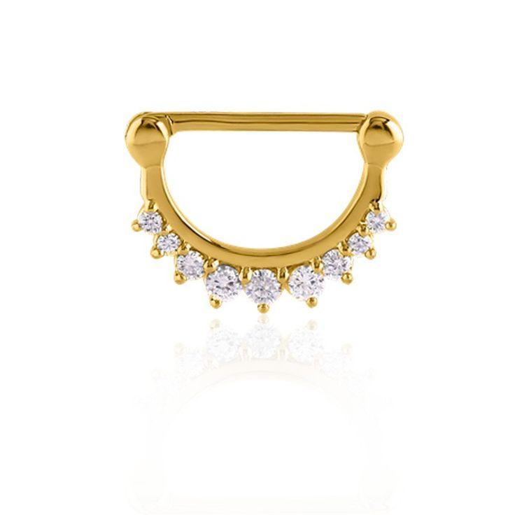 Bijou de piercing pour le téton : plaqué or et oxydes de zirconium blancs. Livraison dès 2,95€