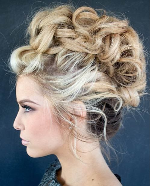 Curly & Messy Faux Hawk Updo