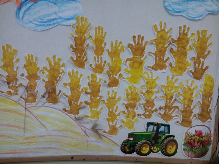 Wheat made from hand prints made by 3 year old kids.