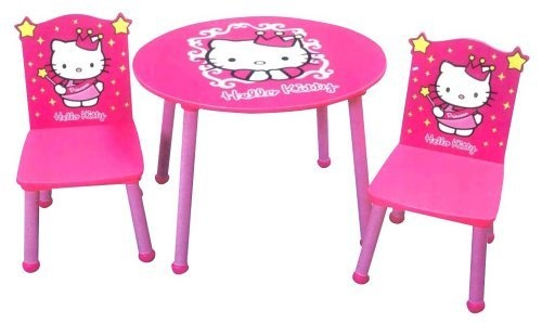 Hello kitty table chairs hello kitty meow for Table exterieur hello kitty