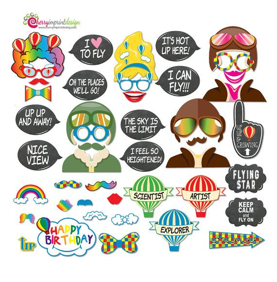 35 Pilot Party Props Airplane Party Diy Printable Photo Booth: 45 Funny Hot Air Balloon Photo Booth Props