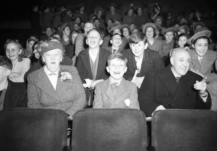 Margaret Rutherford and Alastair Sim at a screening for the extras of The Happiest Days of our Life, 1950.