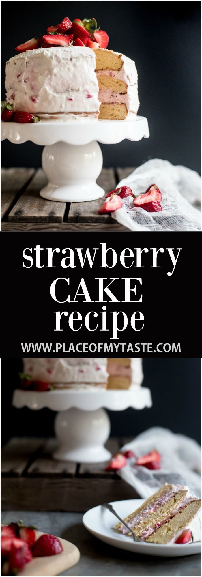Save this recipe for later! The best Strawberry cake recipe! I love that this cake is not so sweet and the filling is incredible!