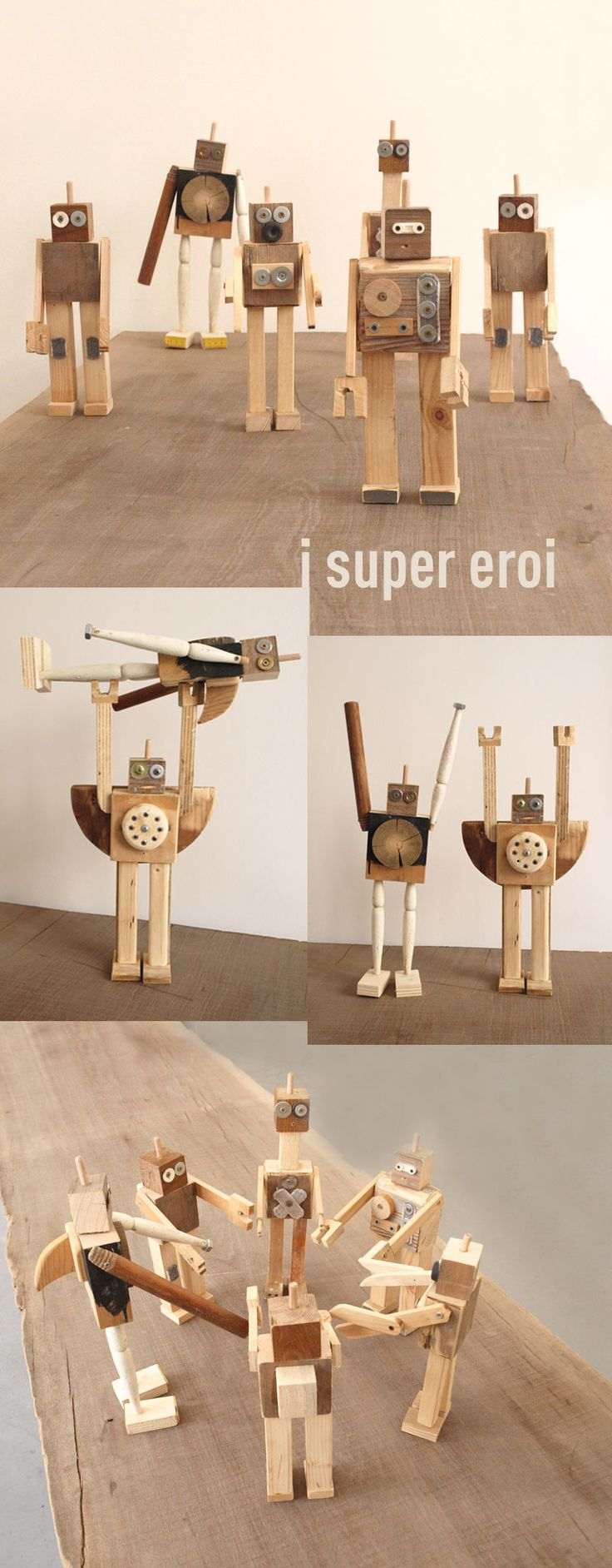 wooden toy robots